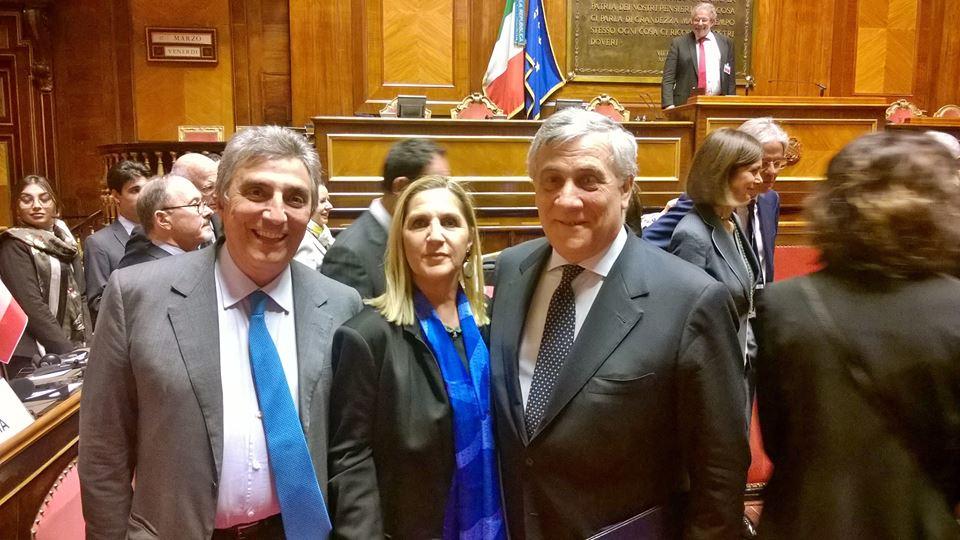 Roma, Senato, 17 marzo 2017 – Guido Viceconte e Antonio Tajani alla Conferenza dei Presidenti dei parlamenti UE nel sessantesimo anniversario dei Trattati di Roma