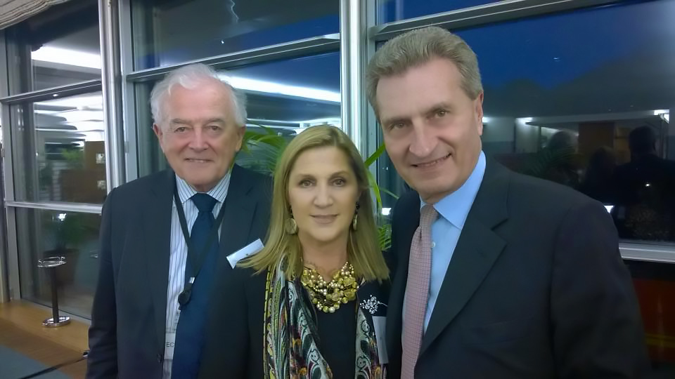 Bruxelles, Parlamento Europeo, 26 aprile 2016 – Lord Richard Balfe, Commissario Gunther Oettinger
