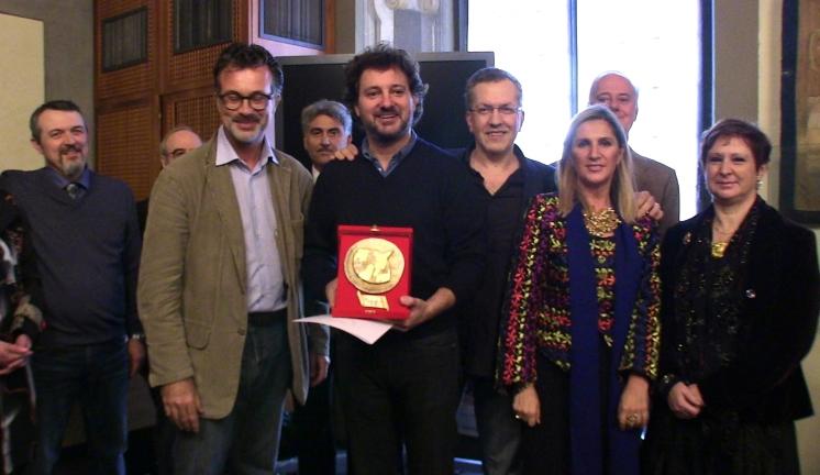 Consegna a Firenze del Premio Pinocchio 2012 a Leonardo Pieraccioni con Domenico Costanzo e Letizia Sebastiani
