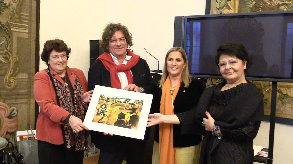 Consegna a Palazzo Medici Riccardi (Firenze) del Premio Pinocchio 2013 a Fulvio Pierangelini, con Anna Pompei e Antonella Pagano