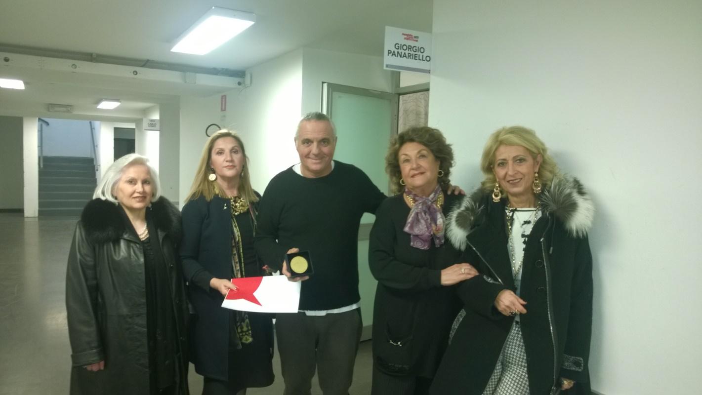 Consegna del Premio Pinocchio 2016 a Giorgio Panariello, a Firenze con Andreina Mancini, Rossana Capitani e Antonietta Fiorillo