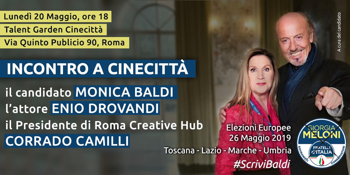 Incontro elettorale a Cinecittà, Roma con l'attore Enio Drovandi e il presidente di Roma Creative Hub Corrado Camilli