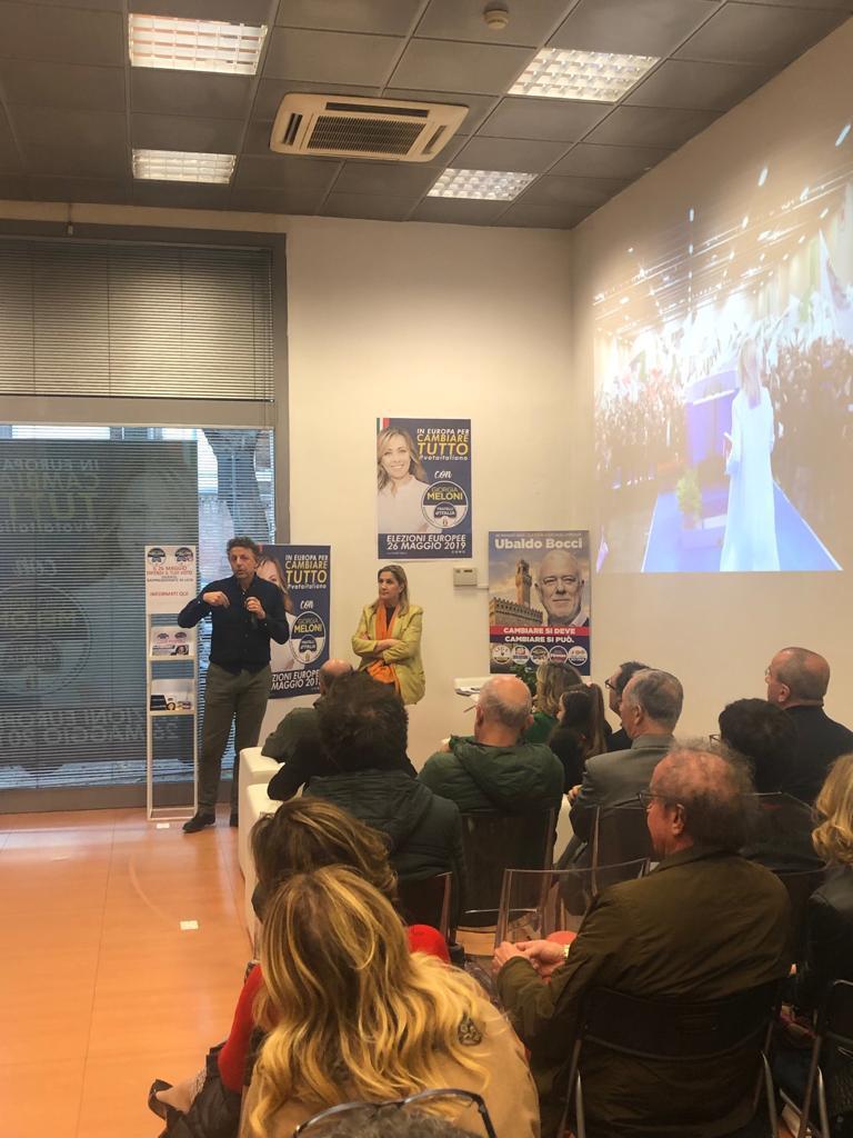 Appuntamento elettorale al Comitato di Fratelli d'Italia in via Amendola a Firenze