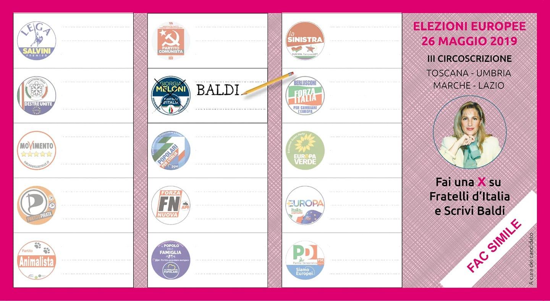 Fac Simile Scheda Elettorale elezioni Europee 2019 - Vota Baldi