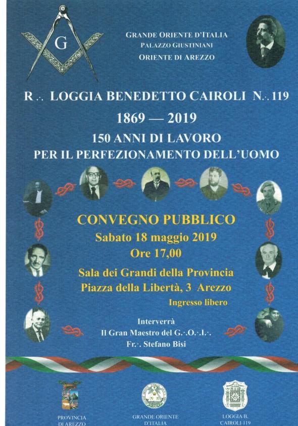 Ospite del convegno Pubblico organizzato dalla Loggia Cairoli ad Arezzo